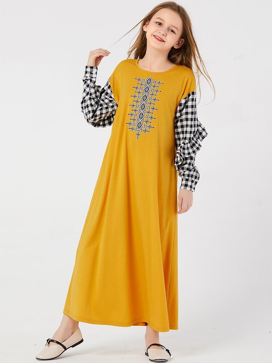 Kaftan Dubai Girls Abaya For Kids Hijab Muslim Dress Abayas Turkey Children Islam Caftan Dresses Qatar Ramadan Islamic Clothing