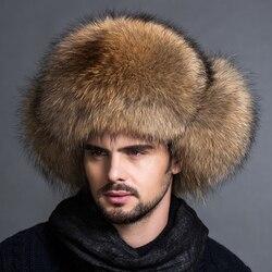 Heißer Verkauf Outdoor 100% Natürliche Echt Fox Pelz Mittleren Alters Leder Pelz Hut Mann Waschbär Pelz Winter Outdoor Thicke alle pelz nordosten