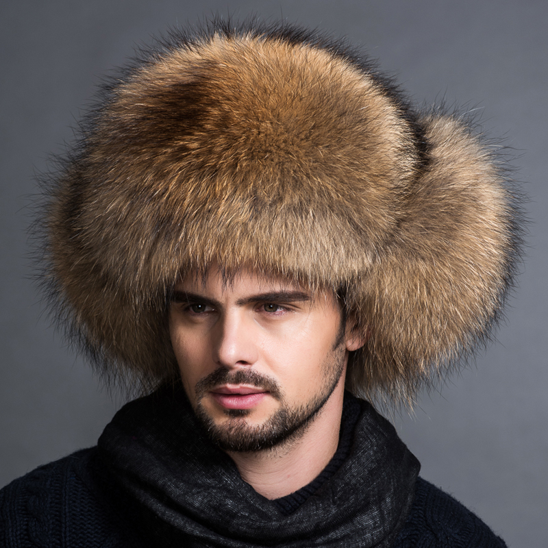 Hot Sale Outdoor 100% Natural Real Fox Fur Middle-aged Leather Fur Hat Man Racoon Fur Winter Outdoor Thicke All Fur Northeast