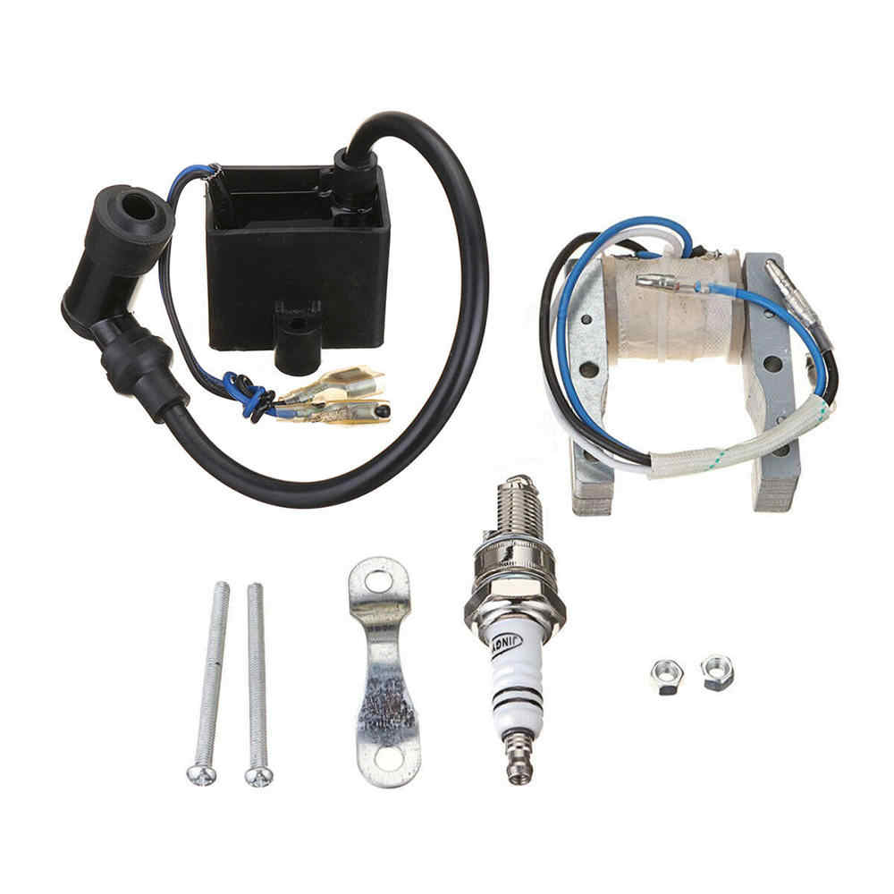 HIAORS High Performance CDI Ignition Coil Magneto Coil Spark Plug Kit for 49cc-80cc 2-Stroke Engine Motorized Bicycle Bike