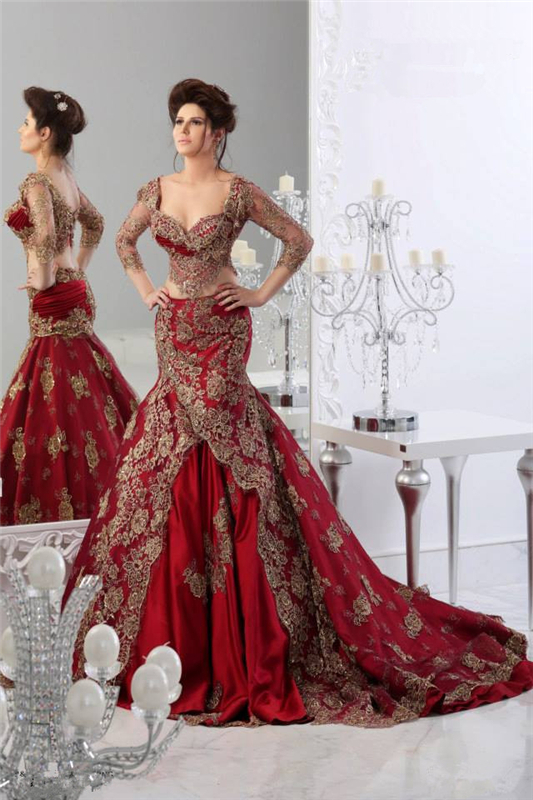 Sheer Sexy Lace Mermaid Appliques Tulle Long Sleeves Prom Floor Length Sexy Luxury Red Evening Gown Mother Of The Bride Dresses