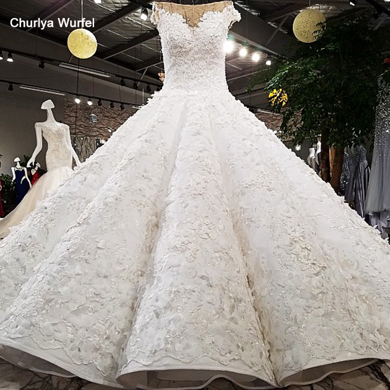 LS64451 luxury puffy ball gown luxury cap sleeves super big skirt beading appliques real pictures show wedding dress with train