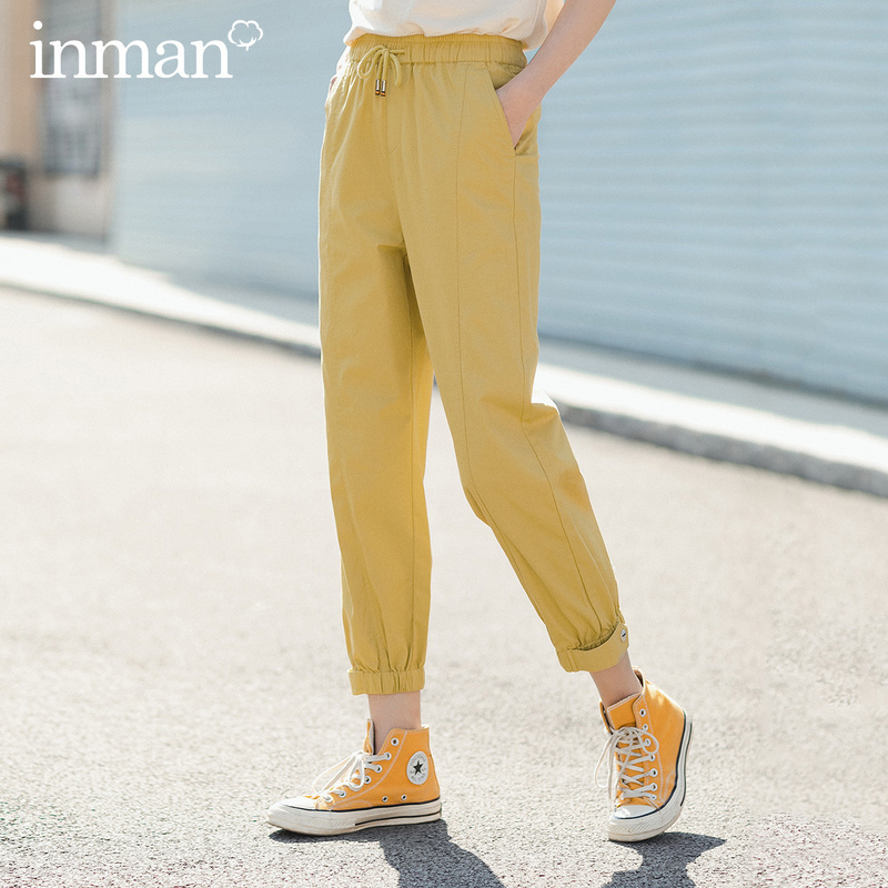 INMAN 2020 Summer New Arrival Pure Cotton Sport Fashion Personality Frock Style Pencil Pant