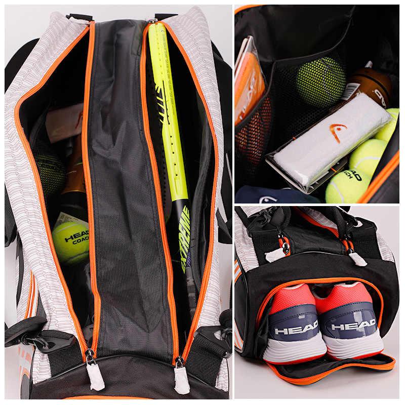 KOPF Tennis Tasche Herren Tennis Schläger Taschen Outdoor Gym Badminton Taschen Kapazität 6-9 Schläger Sport Wasserdichte Tasche Badminton rucksack