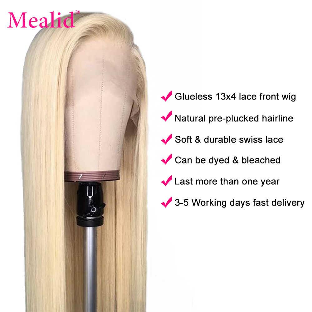 Glueless 613 blond koronki przodu peruki Remy brazylijski proste włosy koronki przodu włosów ludzkich peruk 13x4 wstępnie oskubane z dzieckiem włosy 150%