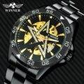 WINNER модные повседневные автоматические механические мужские часы от ведущего бренда  роскошные блестящие часы с кристаллами и циферблатом...