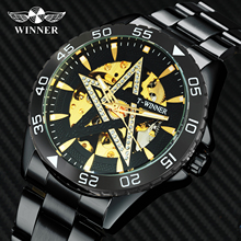 цена на WINNER Fashion Casual Automatic Mechanical Mens Watches Top Brand Luxury Bling Crystal Skeleton Dial Black Metal Watch Men 2020