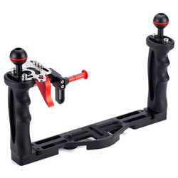 Camera Waterproof Case Double Grip Tray Diving Cover Bracket Double Hand-Held Fill Light Arm Suitable For Canon, Sony, Nikon, Pa