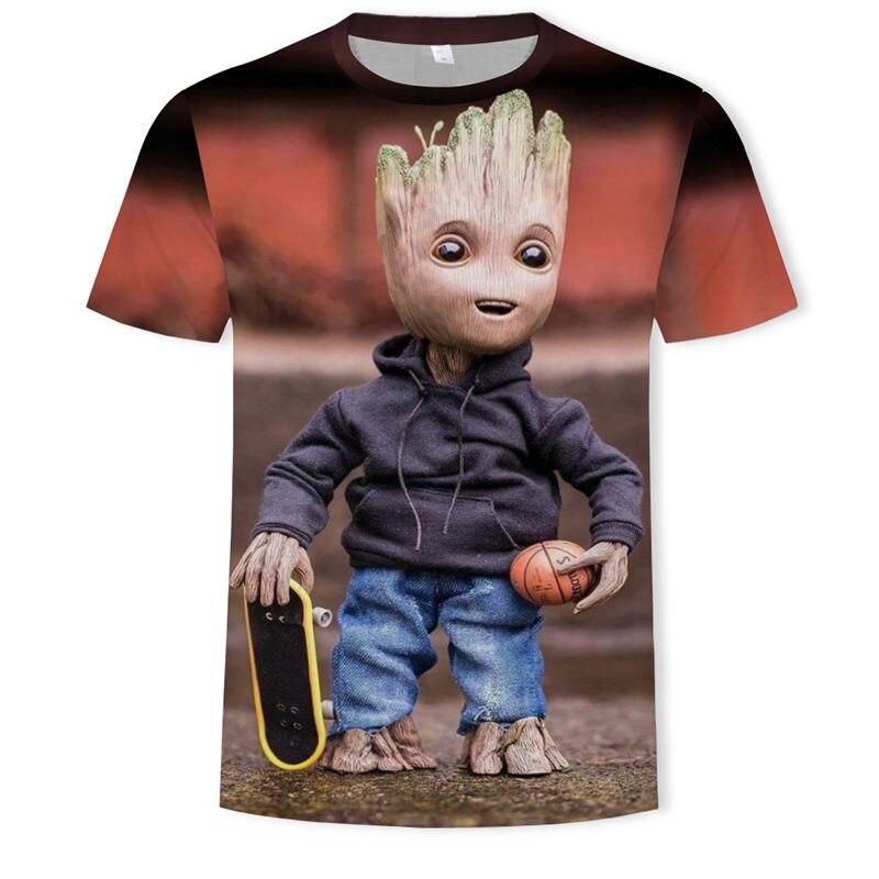 2019 NEW Marvel Avengers 3d Hip-hop Groot T Shirt Print Superhero America T Shirt Cosplay T Shirt Men New Summer Fashion T Shirt
