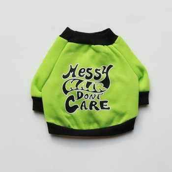 Dogs Clothes Hoodie Medium Cartoon Thicker Letter Pet Clothing Breathable Chihuahua Autumn Winter Boy Green Ropa Para Perro image