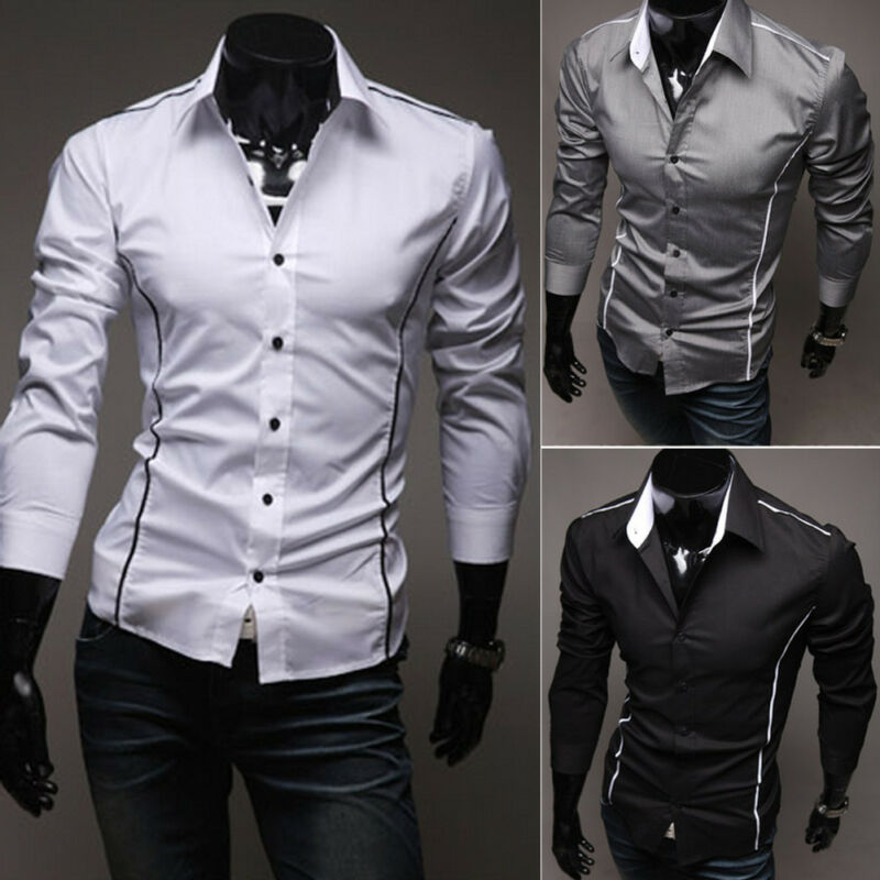 Mens Formal Shirt Long Sleeve Dress Designer Business Luxury Shirts Regular Fit