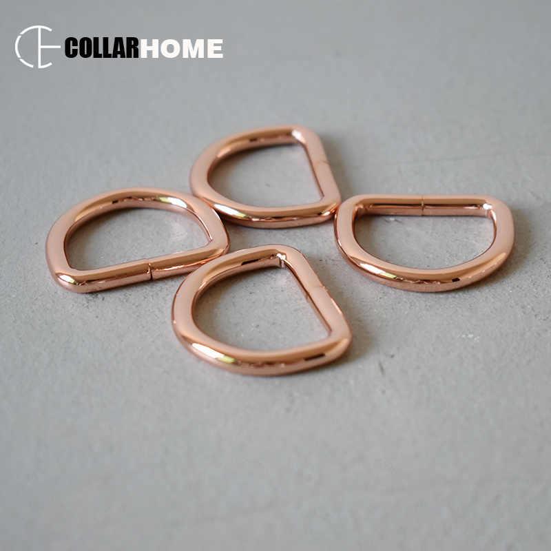 Ağır hizmet d-yüzükler gül altın zincir bağlantı bağlantı elemanı 1 Inç (25mm) DIY sırt çantası sapanlar çanta köpek kedi tasma dikiş aksesuarları