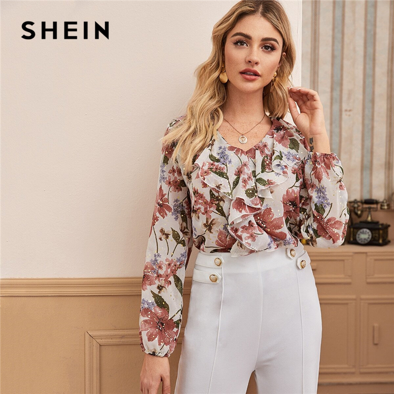 SHEIN V Neck Floral Print Ruffle Trim Elegant Blouse Women Tops 2020 Spring Multicolor Long Sleeve Ladies Boho Blouses And Tops 1