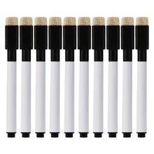 10Pcs/set Black Whiteboard Pen Erasable Marker Pen Office School Stationery Supplies