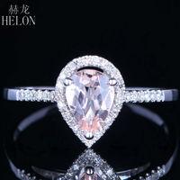 HELON Solid 10K White Gold Pear 0.78ct 100% Genuine Natural Morganite Diamonds Ring Women Engagement Wedding Beautiful Jewelry