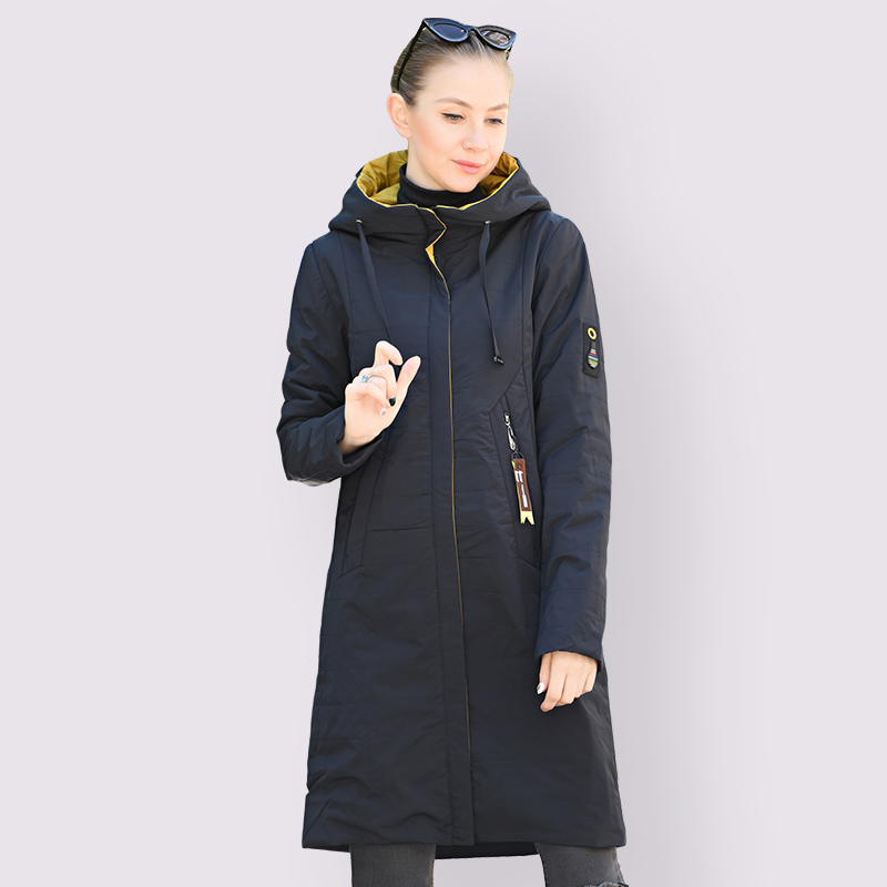 2020 NEW Spring Autumn Women Coat Warm Thin Cotton Jacket Long Plus Size 6XL 58/60 Fashion High Quality Outwear Hooded Parka