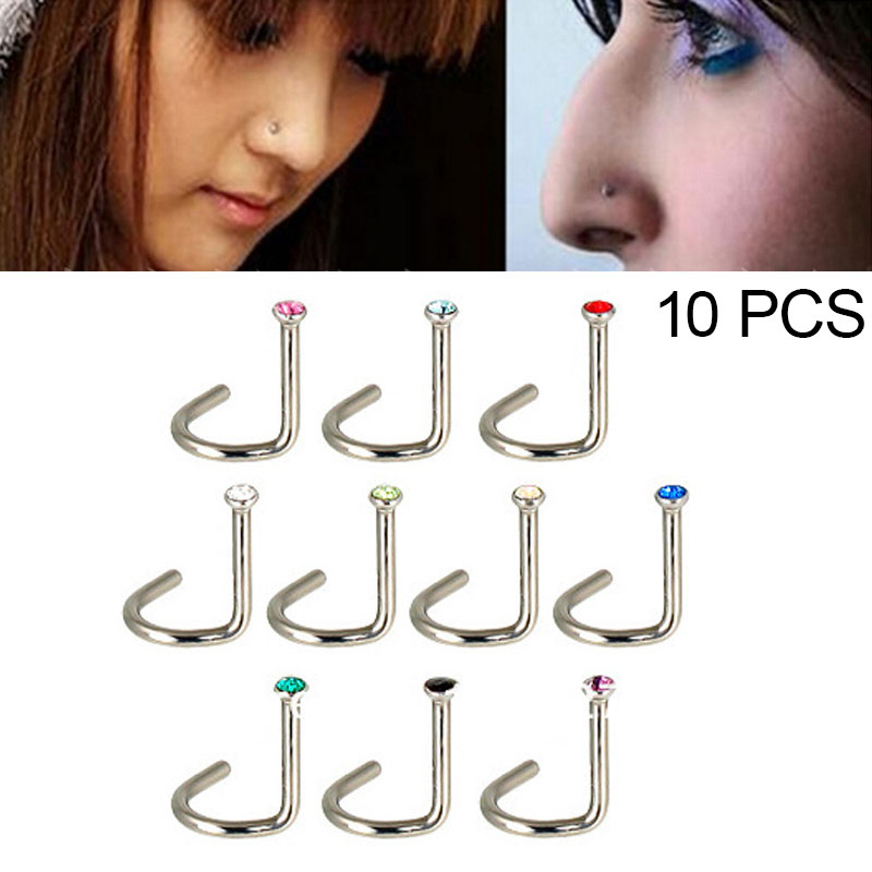 New Popular 10 Pcs Titanium Crystal Nose Studs Mixed Colors Cute Nose Screw Rings Retainer Fashion Body Jewelry Nostril Piercing Buy At The Price Of 0 68 In Aliexpress Com Imall Com