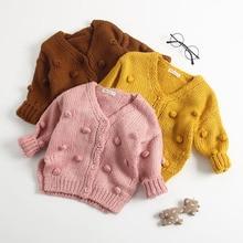 새로운 아기 손으로 만든 버블 볼 스웨터 니트 카디건 자켓 아기 스웨터 코트 걸스 카디건 걸스 가을 겨울 스웨터