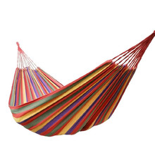 Big-Size Hammock Portable Camping Garden Beach Travel Hammock Outdoor Ultralight Colorful Cotton Polyester Swing Bed tanie tanio Rural style Meble ogrodowe Trzy osoby JJ104-1 Dorosłych Stripes Hamak Outdoor Furniture canvas Red Blue 190 x 150cm(Approx)