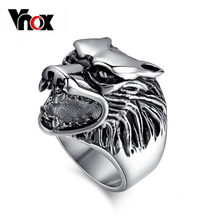Vnox Wolf Head Ring Men Stainless Steel Metal Not Fade Cool Boy Party Jewelry(China)