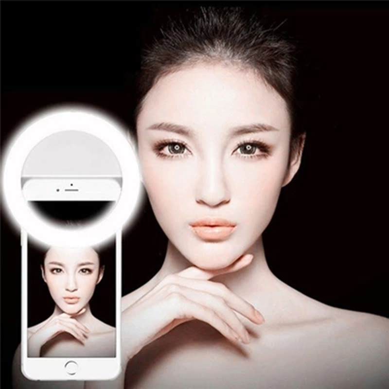 Mobile Phone Clip Selfie LED Vanity Light For Cell Phone Smartphone Round Portable Selfie Beauty Light Mini Camera Make Up Light