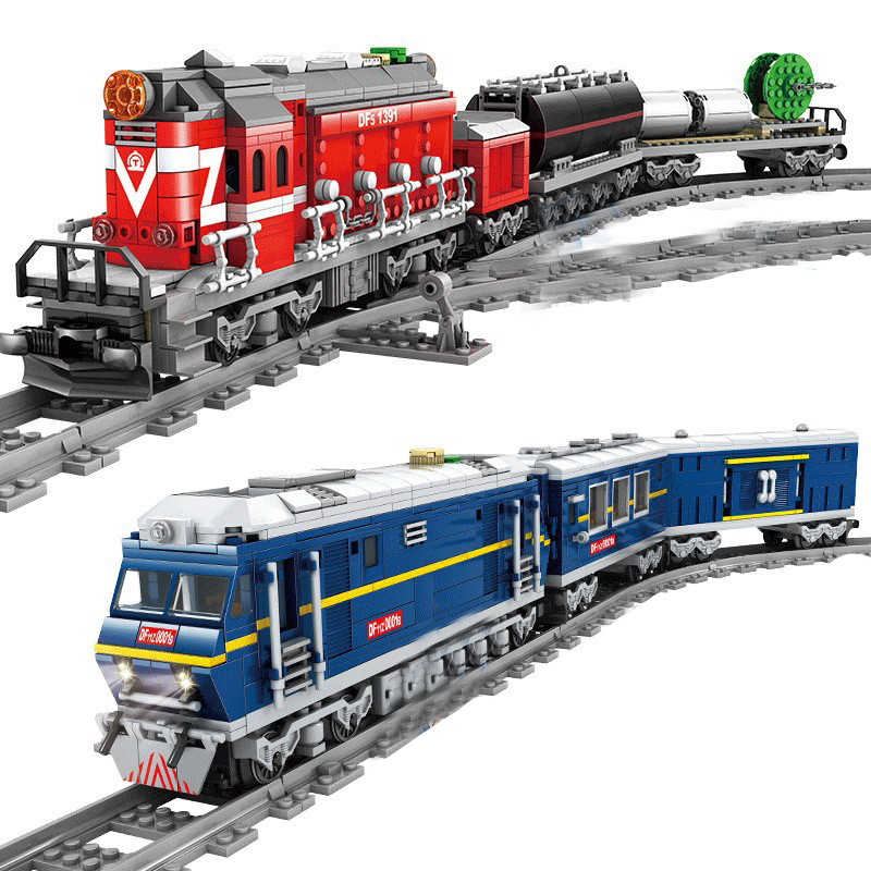QWZ NEW City Train Power-Driven Diesel Rail Train Cargo With Tracks Set Model Technic Building Blocks Toys For Children