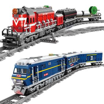 QWZ nowy pociąg miejski napędzany silnikiem wysokoprężnym pociąg kolejowy ładunek z torami zestaw Model Technic klocki dla dzieci tanie i dobre opinie 6 lat KZ98219-KZ98229 Unisex BLOCKS do not eat
