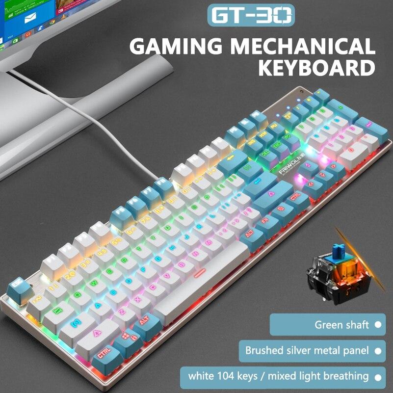 Купить клавиатура игровая механическая проводная с rgb подсветкой 104