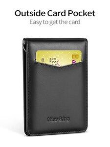 Image 4 - NewBring kart durumda siyah inek deri cüzdan para klip RFID blok sürücü lisans nakit OrganizerMen iş kredi kartı sahibi
