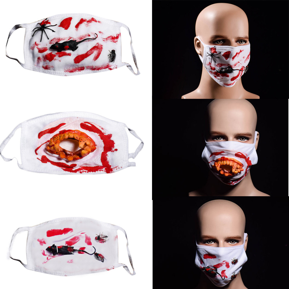 Face Mouth Muffle Mask Creative Halloween Scary Horror Mouth Mask Face Fancy Teeth Zombies Bloody Horrific Gift K919