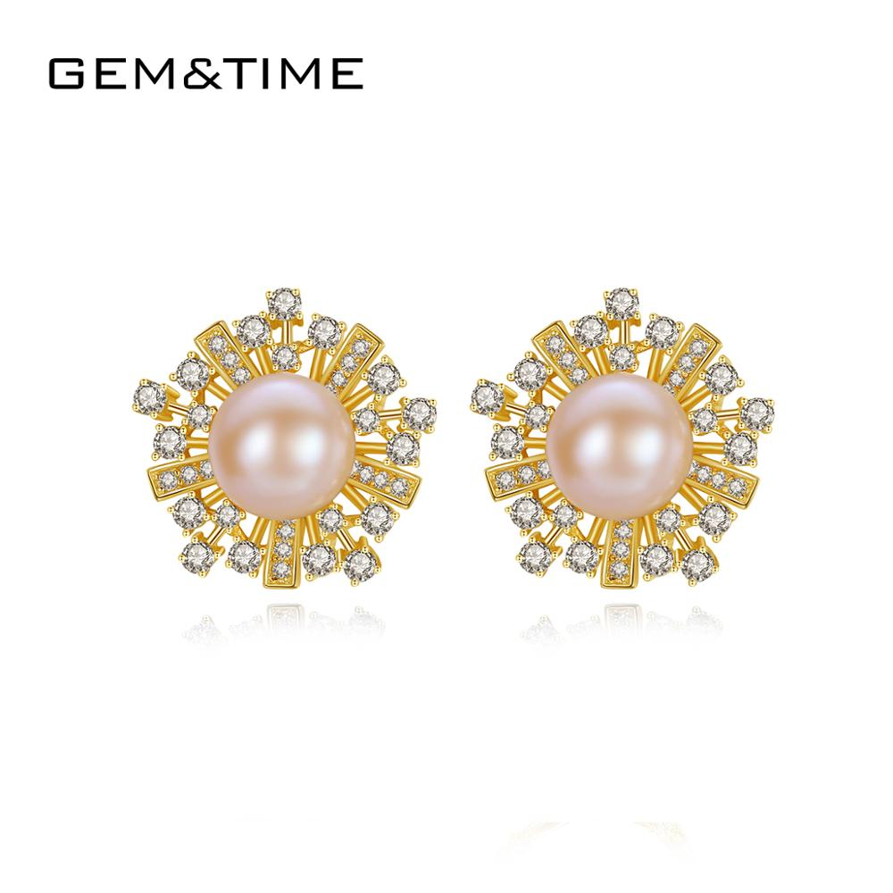Gem&Time Elegant Freashwater Pearls Purple Stud Earrings Real 925 Sterling Silver Earring For Women Pearl Engagement Jewelry New(China)