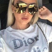 Black Pilot Sunglasses women Men Silver Mirror oversized Met