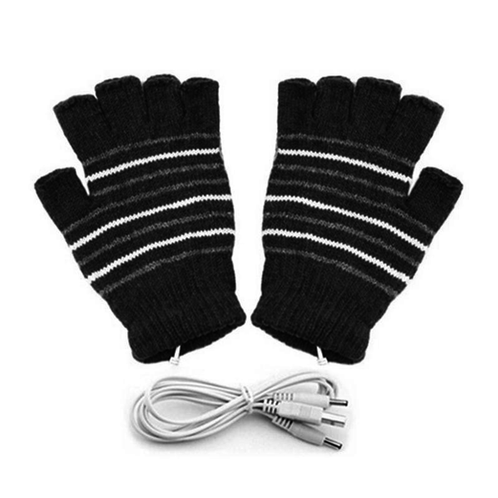 2pcs Washable Winter Skiing Outdoor Cycling Mitten Knitting Sports Practical Warm Heating Gloves USB Connection With Cover