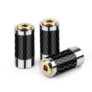 Image 5 - 2 uds. De conector de Audio Mini Jack de 2,5mm y 3,5mm, adaptador de Metal para asiento femenino, conector equilibrado de cobre y fibra de carbono dorada para auriculares