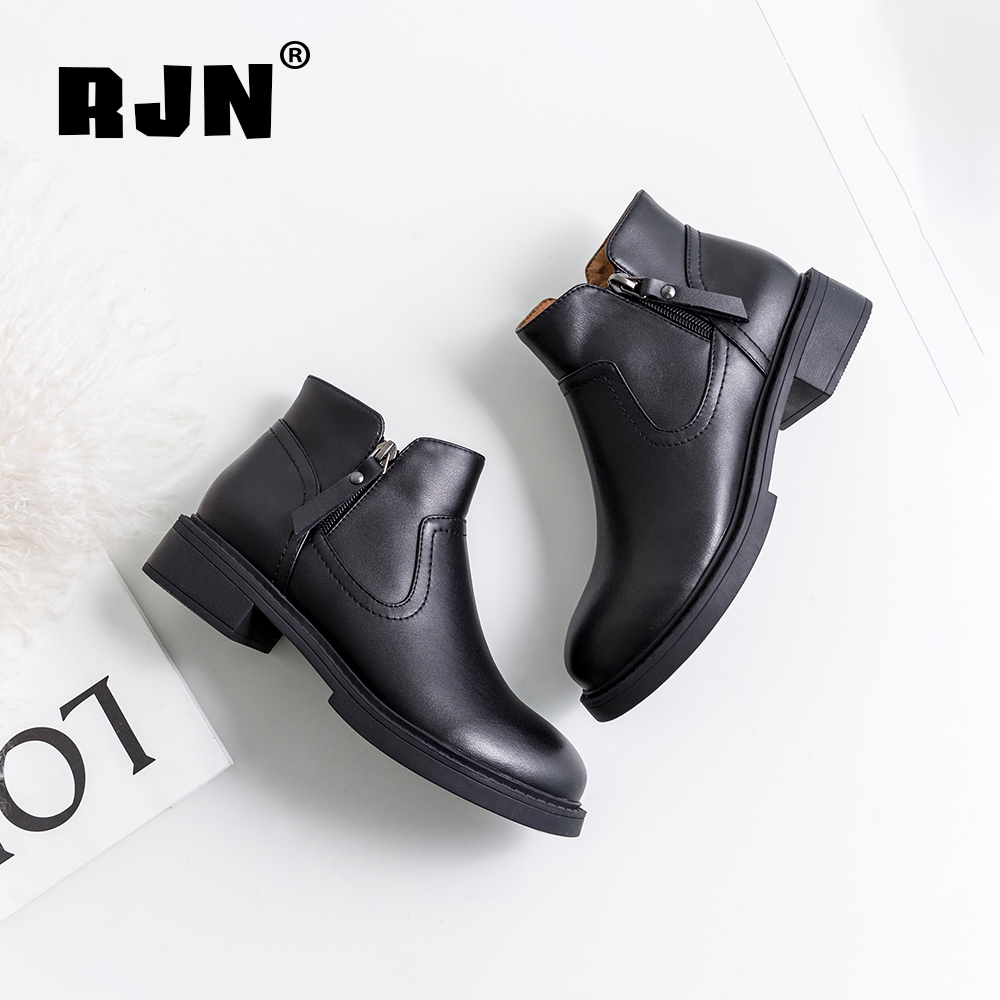 Buy RJN Fashion Women Ankle Boots Solid Casual Round Toe Square Low Heel Zipper Genuine Leather Shoes Ladies Warm Winter Boots RO06