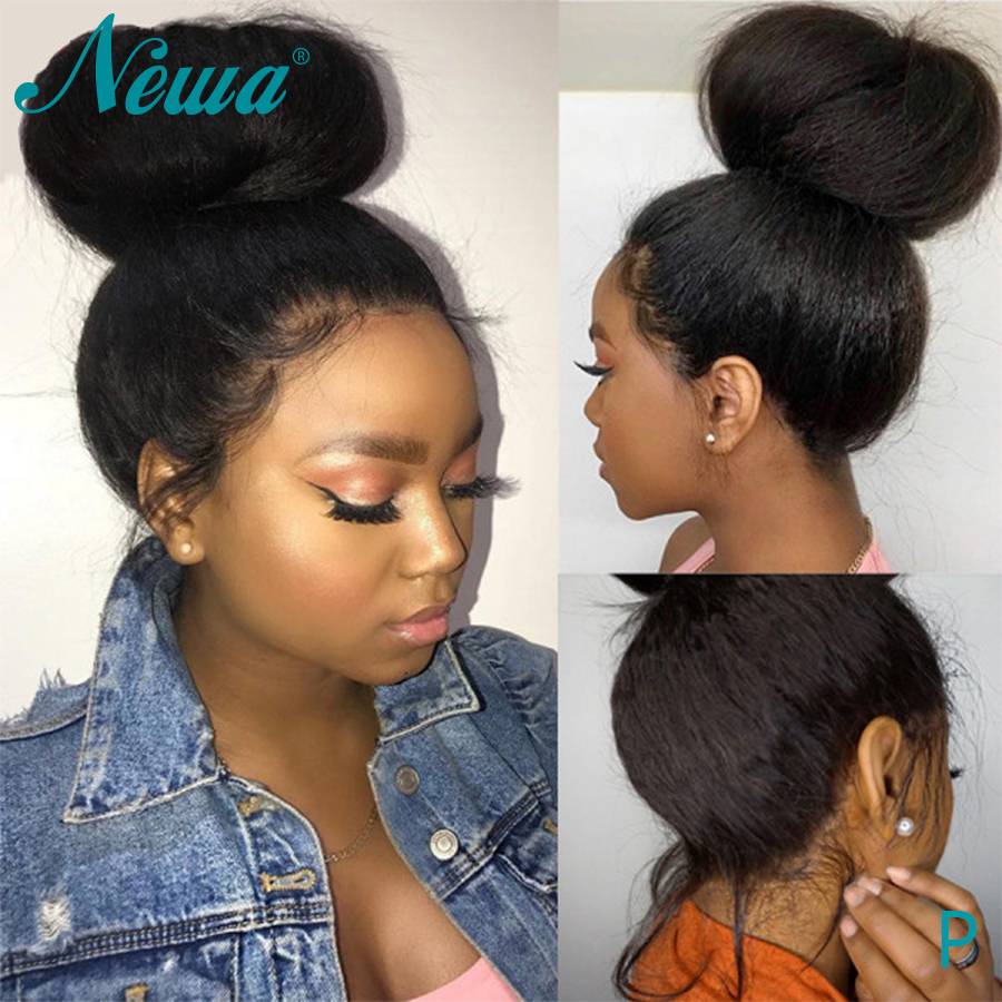 Newa Hair 360 Lace Frontal Wig Kinky Straight Brazilian Lace Frontal Human Hair Wigs Pre Plucked With Baby Hair 180% Remy Wigs