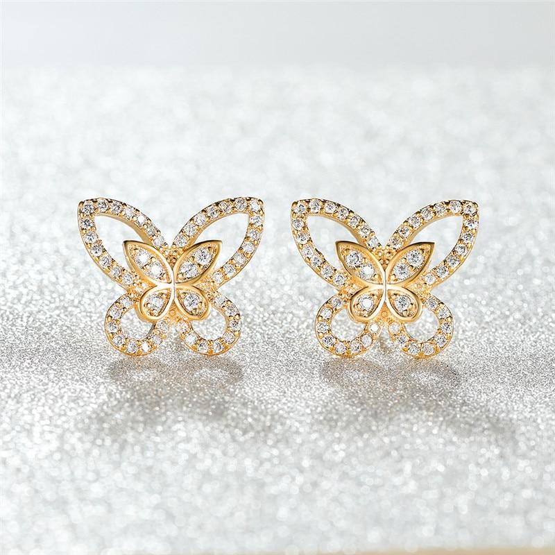 White Zircon Stone Cute Butterfly Stud Earrings For Women Wedding Jewelry Vintage Fashion Rose Gold Silver Color Animal Earrings