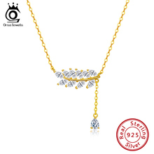 цены ORSA JEWELS Trendy Silver 925 Women Necklaces With Leaf  Shape AAAA Cubic Zircon Necklace Chain Sterling Silver Jewelry OSN173