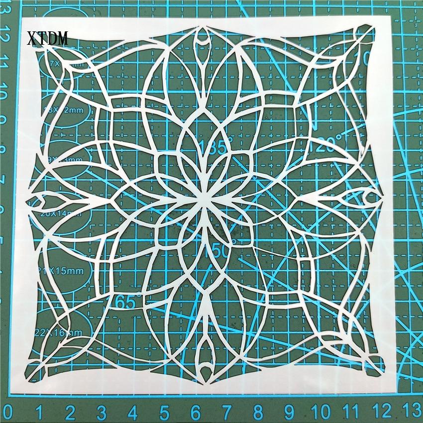 Mandala tile plastic mold shield DIY cake scrapbook stencils hollow Embellishments printing lace ruler Valentine s