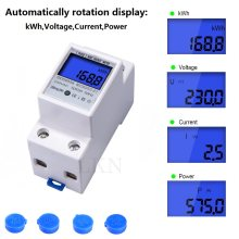 Din Rail kWh Meter 1 Phase 2 Wire LCD Digital Display Power Consumption Energy Electric kWh Counter AC 110V-230V 50/60Hz