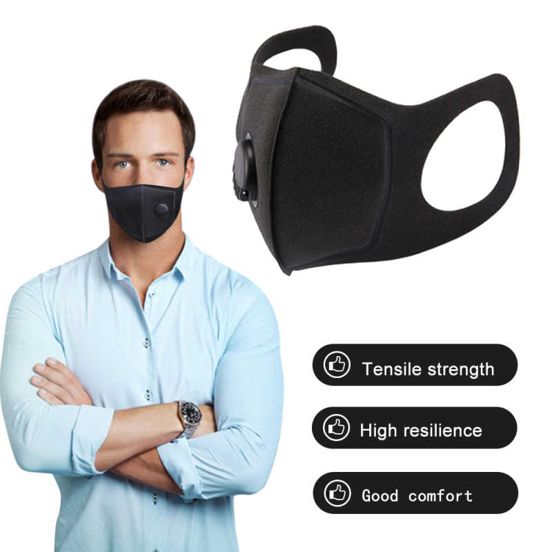 Respirator Mask With Breathing Valve Washable Cotton Activated Carbon Filter PM2.5 Mouth Masks Dust proof Anti Allergy Face Mask