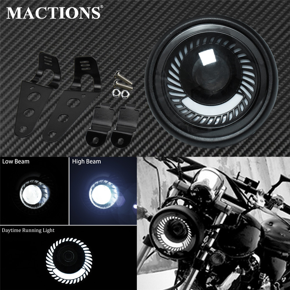 Motorcycle 6 5 Headlight LED Retro Vintage Fog High Low Beam  Headlamp Daytime Running Light Bracket Cafe Racer For Harley