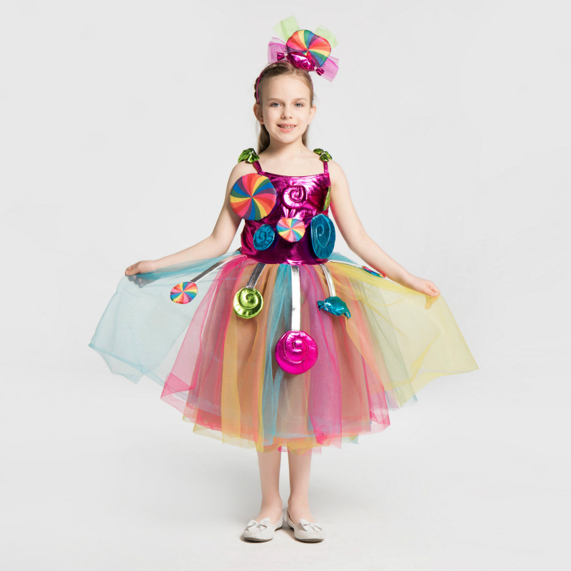Girls Candyland Candy Fairy Dress Kids Halloween Fancy Costume