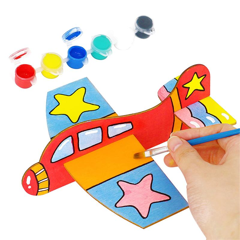 1 Set of Creative Colored Drawing Materials Wooden Airplane Ornament DIY Handmade Painting Tools image
