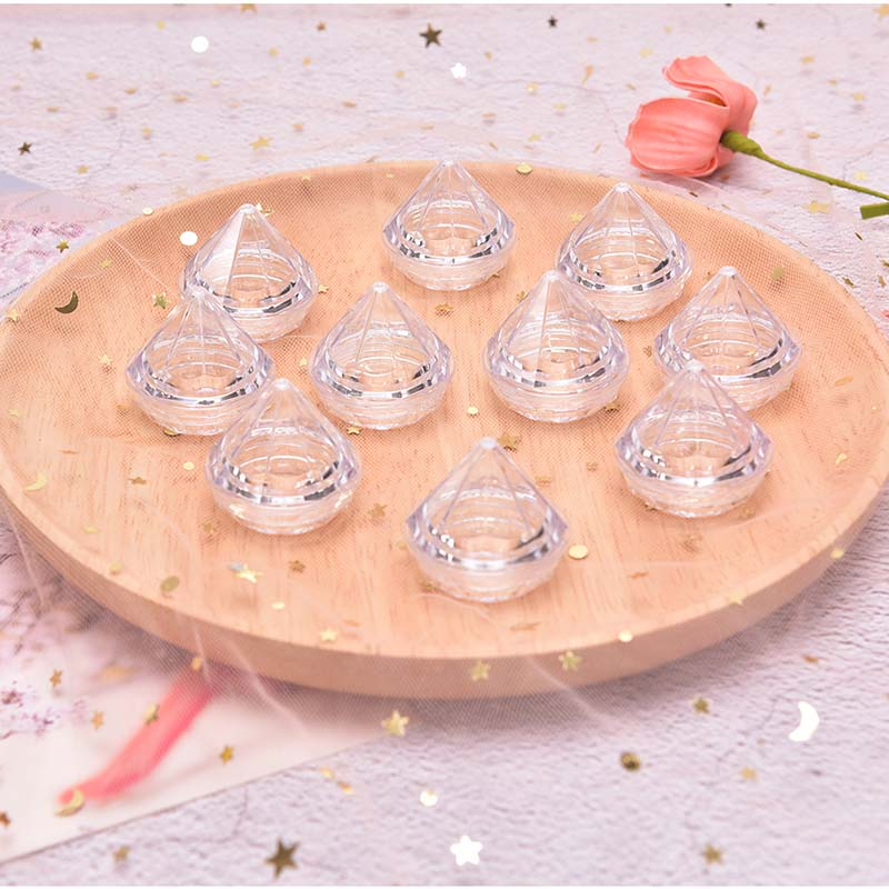 10Pcs Portable 5g Mini Cosmetic Empty Jar Pot Diamond Cream Box Eyeshadow Makeup Face Cream Container Refillable Bottles