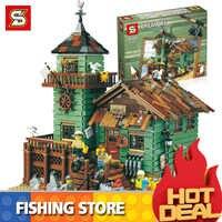 Idées créateur MOC série ancien magasin de pêche ensemble Compatible legoingLYs 21310 blocs de construction briques maison jouets enfant cadeaux de noël