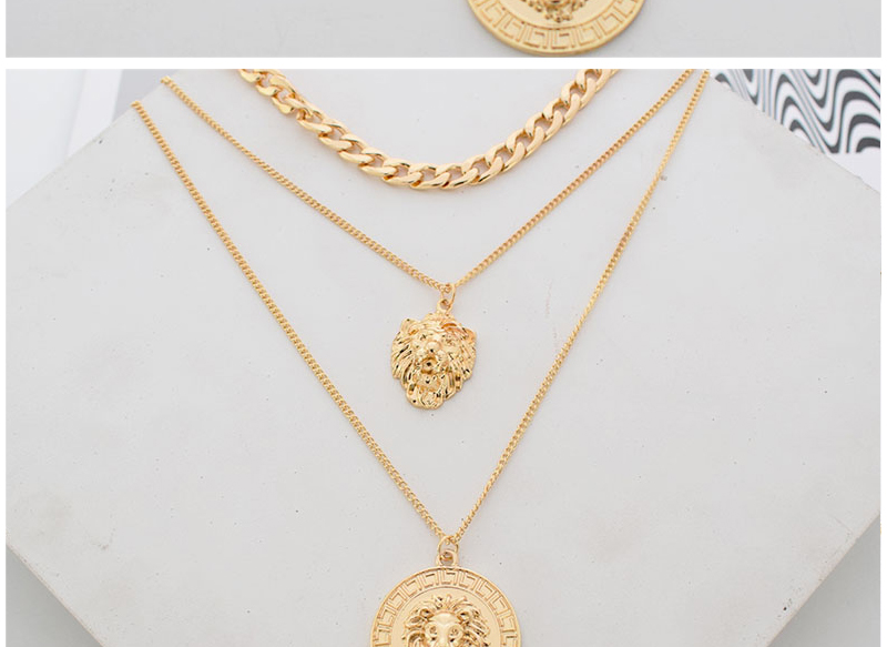 H27a21fa120364ab8b4fdc236b62f5e60Z - Punk Style Statement Metal Gold Color Chain Multi Layer Necklaces Lion Pattern Round Coin Pendant Necklace For Women Party