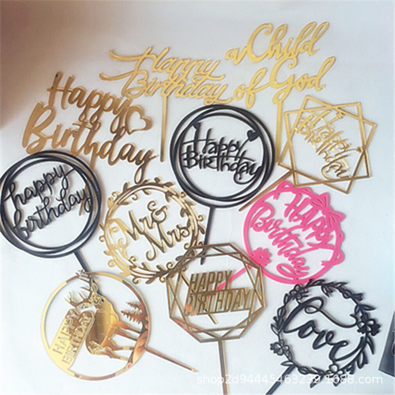 1PC Gold Silver Black Color Cake Topper Acrylic Happy Birthday Cake Topper Dessert Decoration For Birthday Party Lovely Gifts