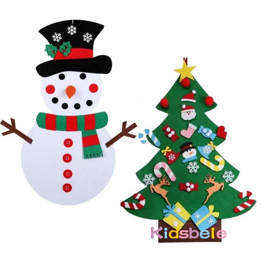 Fai da Te Feltro Albero di Natale per Bambini Giocattoli per I Bambini di Scuola Materna Artigianato Pupazzo di Neve Giocattoli Educativi Decorazione Best Regali per I Bambini