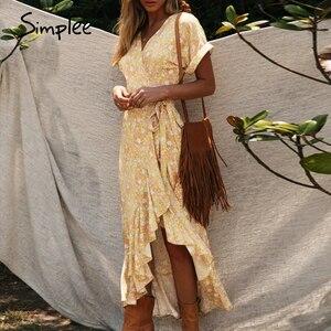Image 3 - Simplee Floral print women dress Sexy wrap ruffled sash high waist summer dress Casual holiday bodycon v neck beach dress 2020